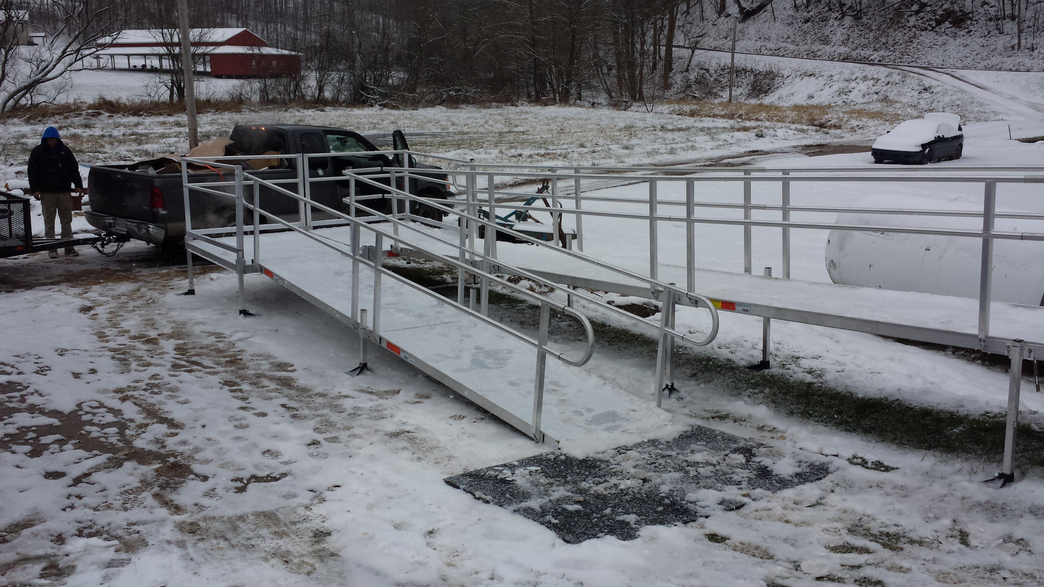 Snow covered ramp before ice-melt has been applied