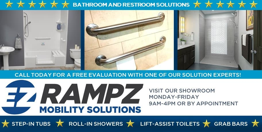 Graphic highlighting types of bathroom solutions we offer