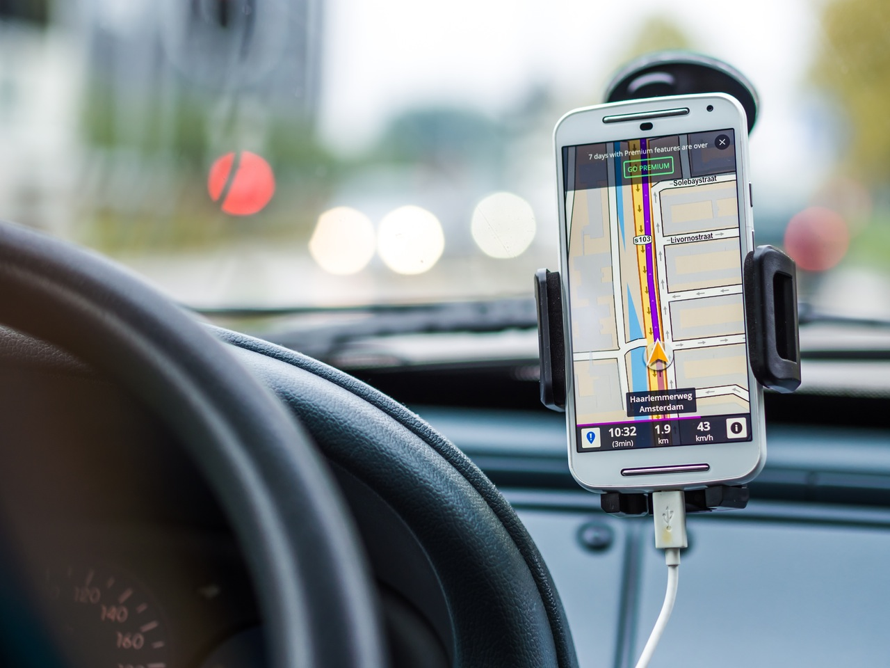 Mounted cell phone holder for car