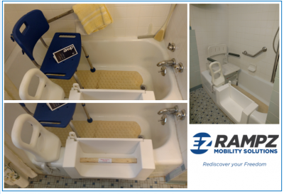 Step-in tub installed with accessories