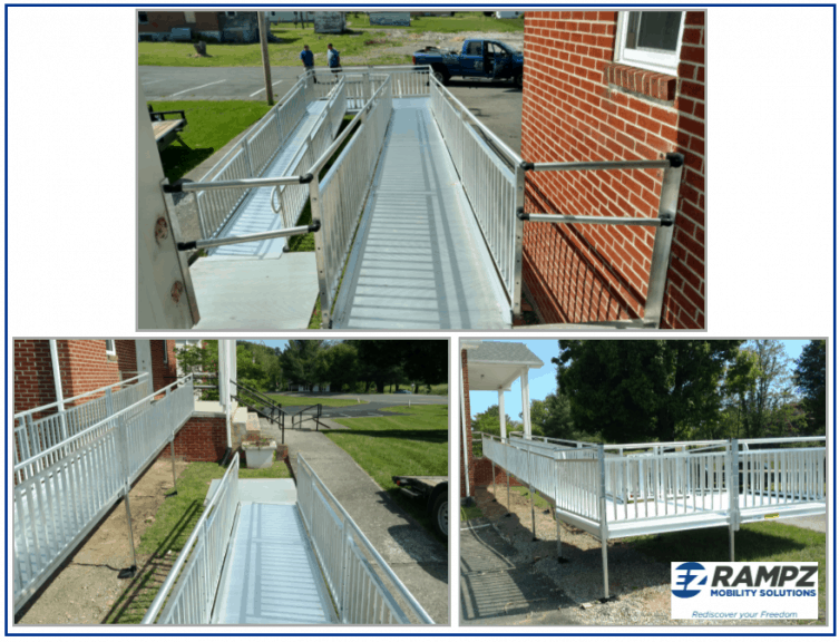 Assorted picketed rails ramps installed