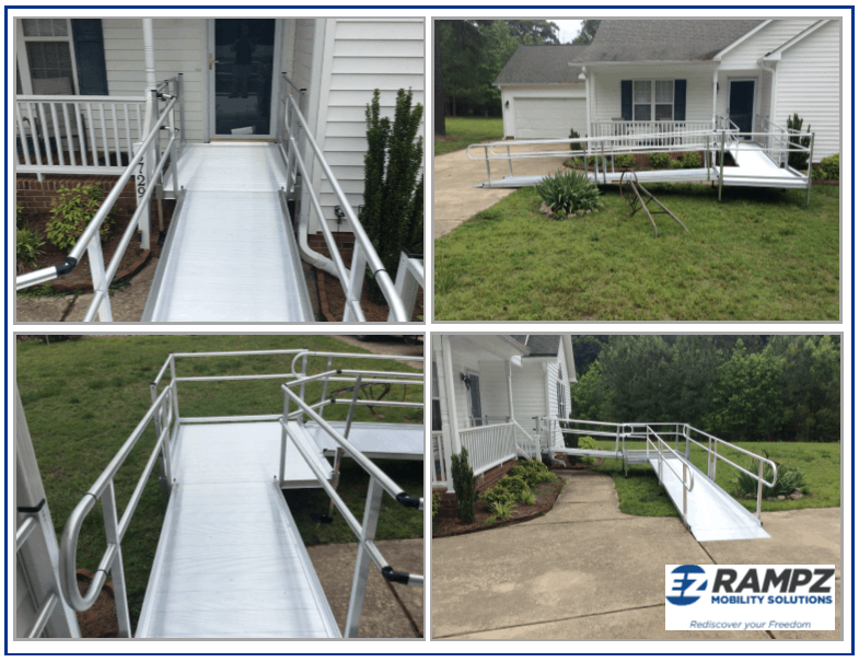 Assorted angles of an installed ramp system