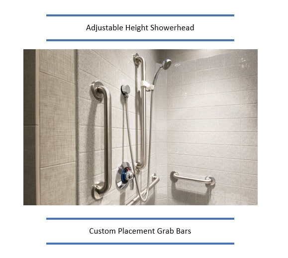 Adjustable Height Shower Head and grab bars
