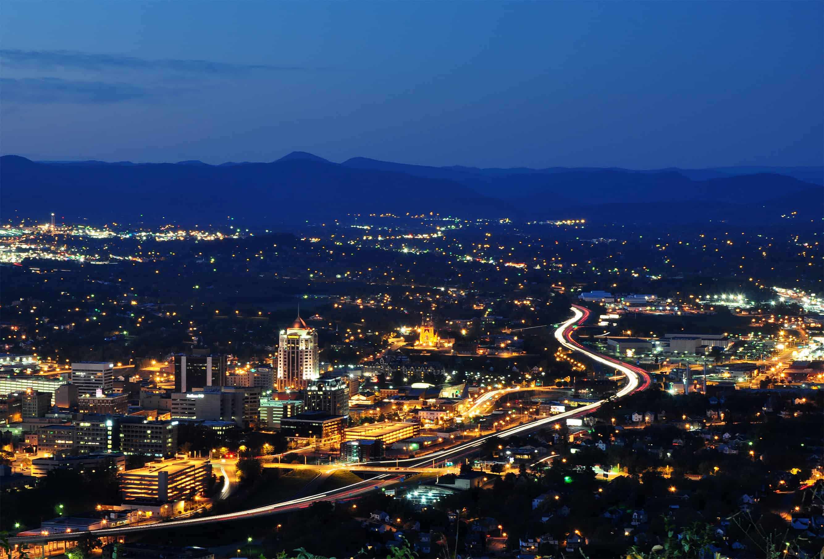 Roanoke City skyline view from Mill Mountain Star